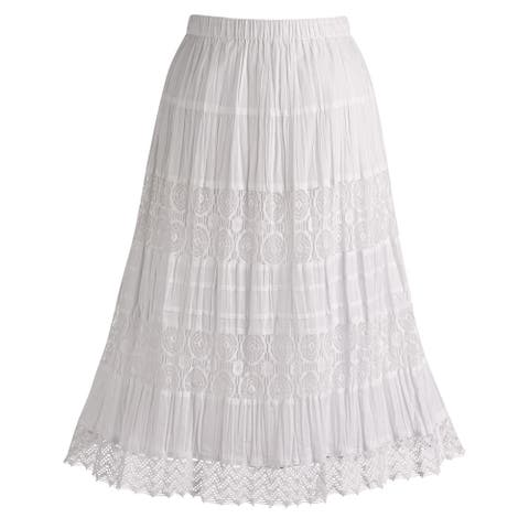 "Women's White Peasant Skirt - Cotton Lace 26"" Tea Length"