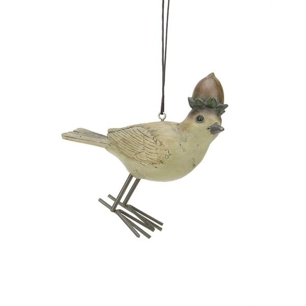 "4.25"" Rustic Woodland Bird with Hazelnut Hat Christmas Ornament - brown"