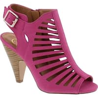 Delicious Shaky Womens Cut Out Strappy Buckle Sling Back Chunky High Heel Sandals