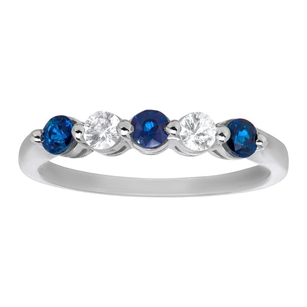 3/4 ct Blue and White Sapphire Ring in 14K White Gold