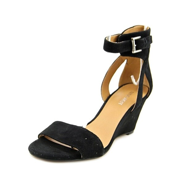 Nine West Womens Nobody Open Toe Ankle Strap Wedge Pumps, Black Su, Size 9.5