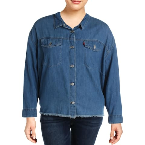 Levi's Womens Plus Button-Down Top Jean Chambray - Blue