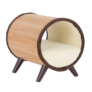 Offex Tubular Pet Bed - Bamboo/Vanilla