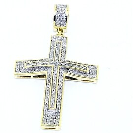 39mm Tall Diamond Cross Pendant 10K Yellow Gold 0.33cttw Pave Set Diamonds(1/3cttw) By MidwestJewellery - White