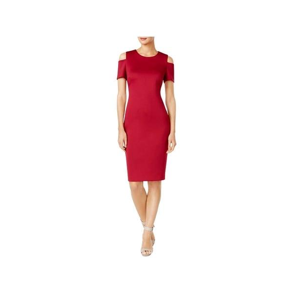 Calvin Klein Womens Party Dress Cocktail Cold Shoulder