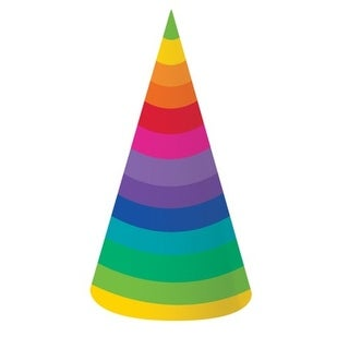 "Club Pack of 48 Multi-Colored Striped Rainbow Adult Sized Paper Birthday Party Hats 10"" - Multi"