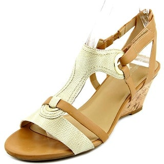 Naturalizer Heston Women Open Toe Synthetic Nude Wedge Sandal