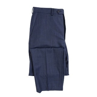 Shaquille O'Neal Men's Sharkskin Classic Fit Dress Pants (32Wx32L, Blue) - Blue - 32X32