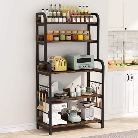 Tribesigns Industrial Kitchen Baker Rack with 6 Hooks, Microwave Oven Stand Rack