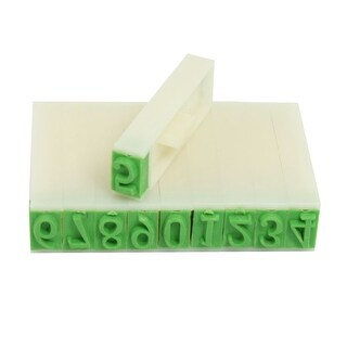 Unique Bargains Plastic Digits Arabic Numerals Numbers Stamp School Office Students Stationery Beige Green