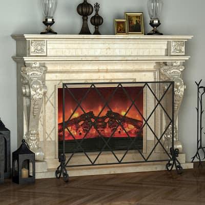 1 Panel Cabinet Iron Fireplace Screen