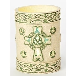 """5"""" Irish Inspired Celtic Knot Religious Flame-less Candle - Green"""