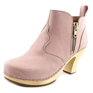 Swedish Hasbeens Zip It Victoria Women Round Toe Suede Ankle Boot