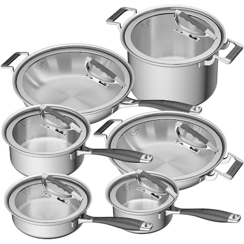 CookCraft by Candace 12-Piece Tri-Ply Stainless Steel Grand Cookware Set