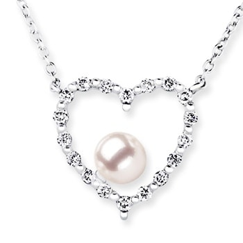 9a9897d46cac6 Solitaire Akoya Cultured Pearl and Diamond Heart Pendant in 14K White  Gold(6mm Akoya Cultured Pearl)