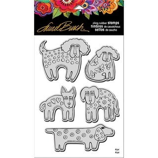 """Stampendous Laurel Burch Cling Stamp W/ Template 9""""X5.25""""-Dog Park"""