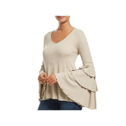 Elan Womens Tunic Top Tiered Bell Sleeves