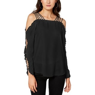 XOXO Womens Juniors Pullover Top Off-The-Shoulder Lace Trim