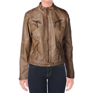 Studio M Womens Jacket Faux Leather Distressed