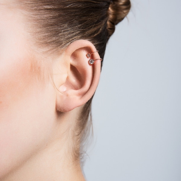 Amorium Mini Bezel Cartilage Ear Cuff in 18K Rose Gold Plated Sterling Silver with Cubic Zirconia