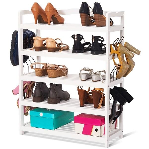 Shop Costway 5 Tier Wooden Shoe Rack Shelf Storage