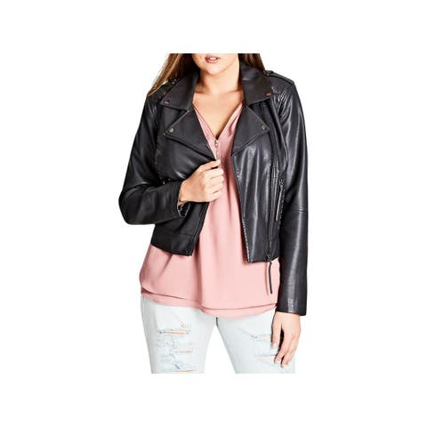 City Chic Womens Plus Whip Stitch Motorcycle Jacket Fall Faux Leather