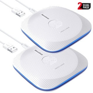 Overtime Qi Wireless Fast Charging Pad White with LED Light - 2 Pack