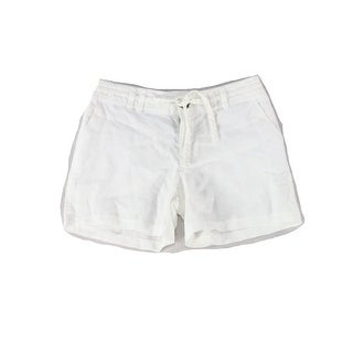 INC NEW White Women's Size 2 Solid Linen Drawstring Seamed Shorts