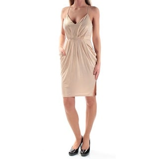 Womens Gold Spaghetti Strap Above The Knee Sheath Cocktail Dress Size: XS