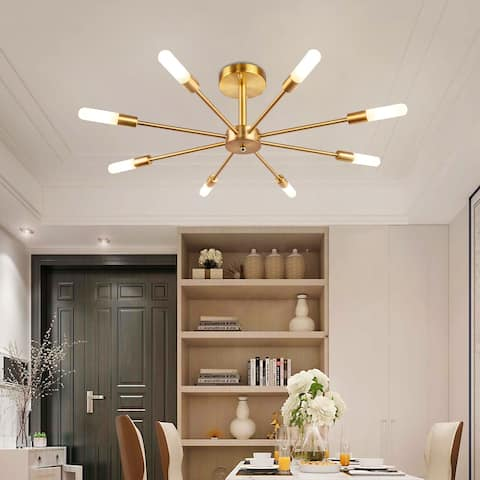 OYIPRO-Dimmable Industrial 8-light Sputnik Ceiling Lamp - 28.74 Inch