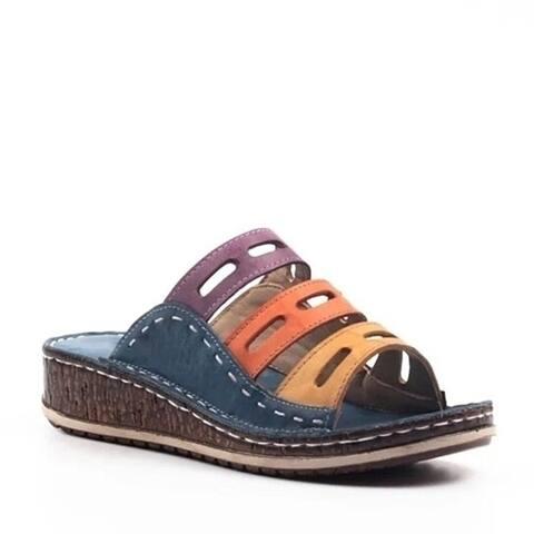 Women Casual Summer Color Comfy Low Heel Wedge Sandals