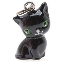 Hand Painted 3-D Seated Black Cat With Green Eyes Jewelry Charm 20mm (1)