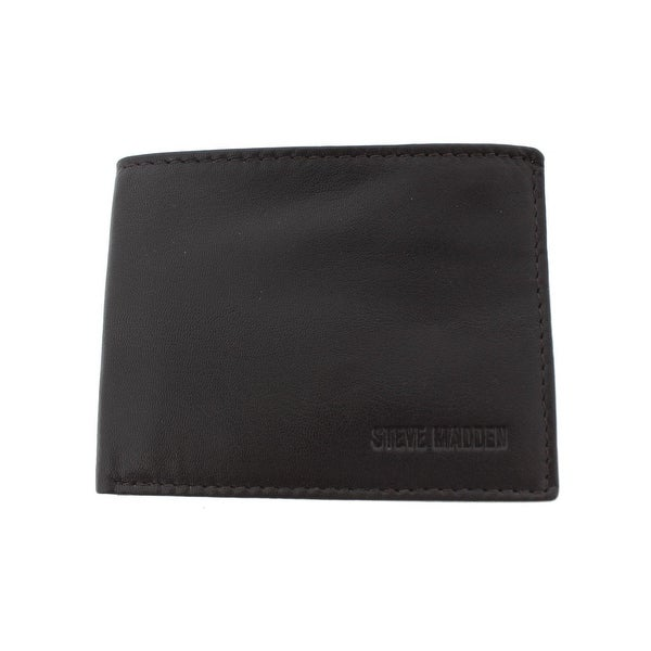 Steve Madden Mens Slimfold Wallet Leather RFID Protection - o/s