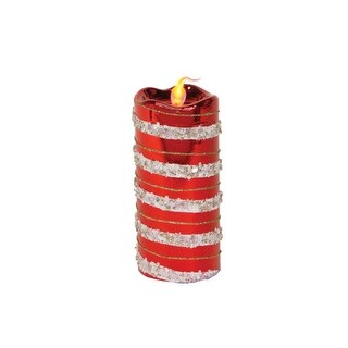 "6"" Red, White and Gold Striped Flameless LED Glass Christmas Pillar Candle"
