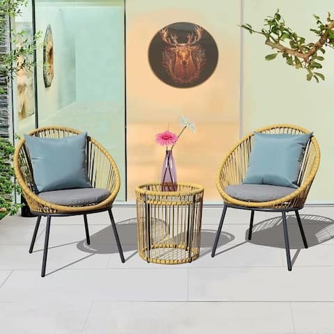 3 Piece Bistro Wicker Set with Cushion