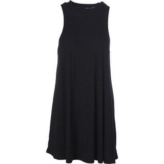 Aqua Womens Ribbed Knit Halter Tank Dress