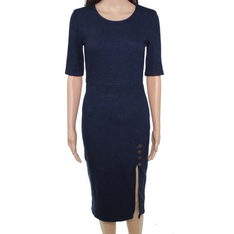 MINKPINK Women Sweater Dress Blue Size Medium M Ribbed Knit Button Slit