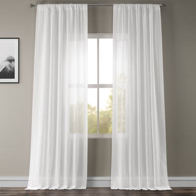 Exclusive Fabrics White Orchid Faux Linen Sheer Curtain (1 Panel)