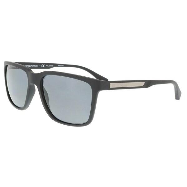 2ac506bcafe6 Shop Emporio Armani Ea4047 506381 Black Rectangle Sunglasses - 56-17 ...
