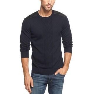 INC International Concepts Merino Wool Blend Sweater XX-Large Navy Blue Crew