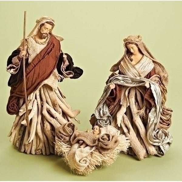 "16"" 3 piece Saint Holy Family Decorative Driftwood Set - brown"