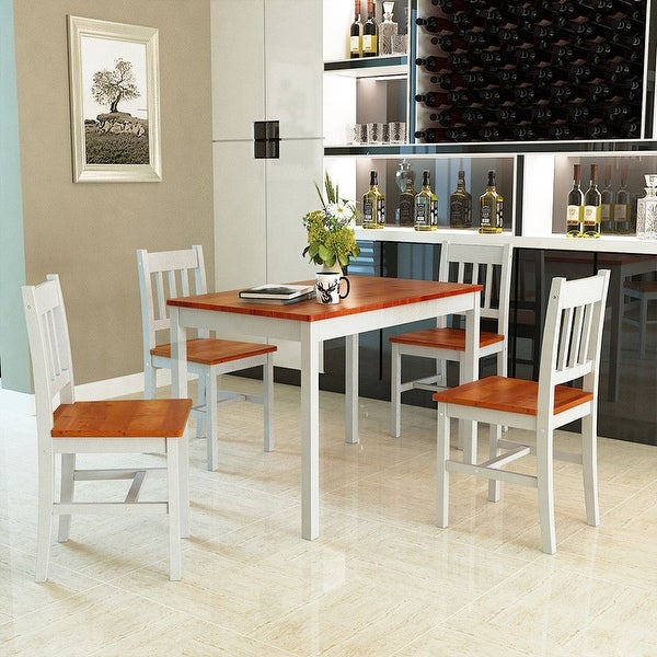 Shop Costway 5PCS Pine Wood Dinette Dining Set Table And 4