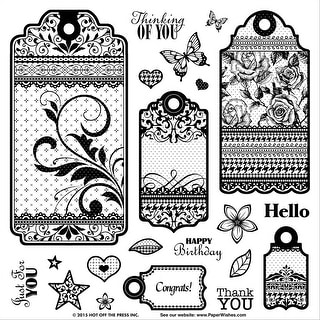"""Hot Off The Press Acrylic Stamps 8""""X8""""-Tags & Trim"""