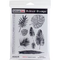 "Darkroom Door Cling Stamps 7""X5""-Tropical Leaves"