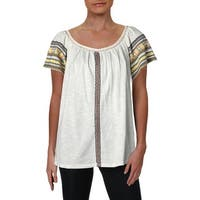 Lucky Brand Womens Casual Top Off-The-Shoulder Embroidered