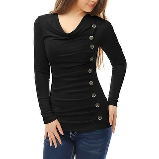 Link to Women's Cowl Neck Long Sleeves Buttons Decor Ruched Top Similar Items in Tops