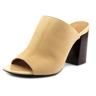 Calvin Klein Cice Women Open Toe Leather Nude Slides Sandal