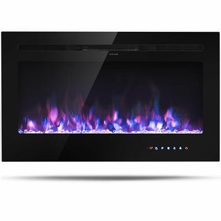 Gymax 36'' Electric Fireplace Recessed and Wall Mounted 750W/1500W W/ Multicolor Flame
