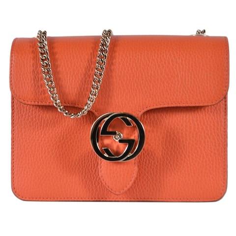 Gucci Sun Orange Leather 510304 Marmont GG Crossbody Purse Handbag