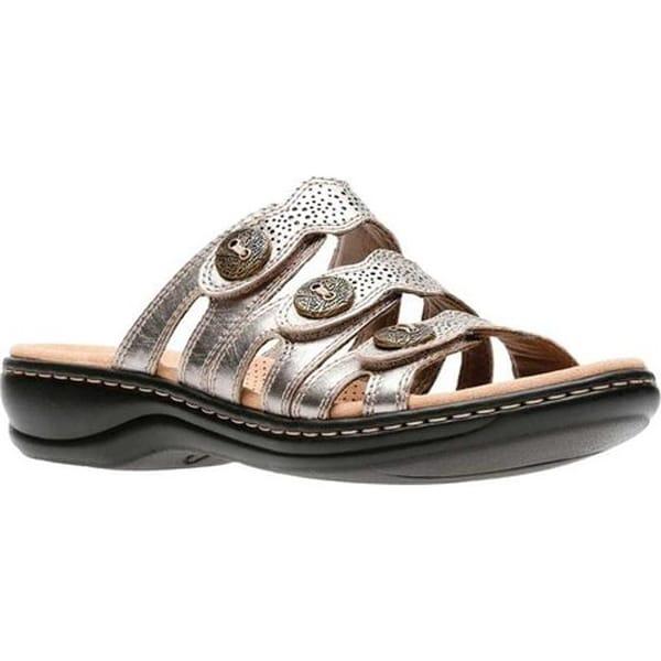 b90417544a9 Clarks Women  x27 s Leisa Grace Strappy Slide Pewter Metallic Full Grain  Leather